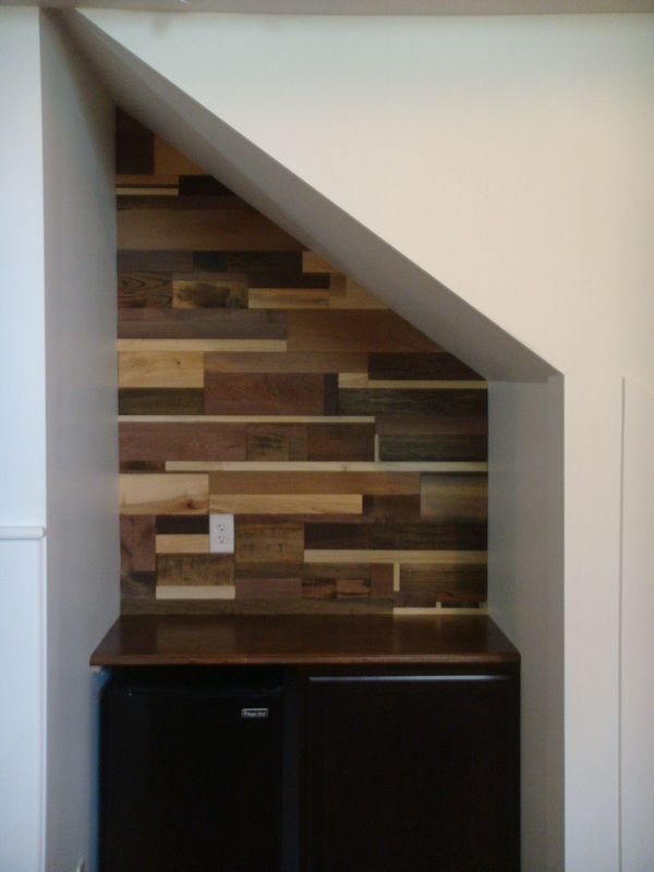 WOOD PLANK WALL: UNDER STAIRS